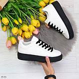 Модные черно - белые женские кроссовки кеды криперы на каждый день, фото 7