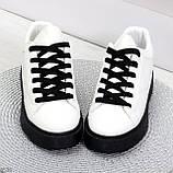Модные черно - белые женские кроссовки кеды криперы на каждый день, фото 8