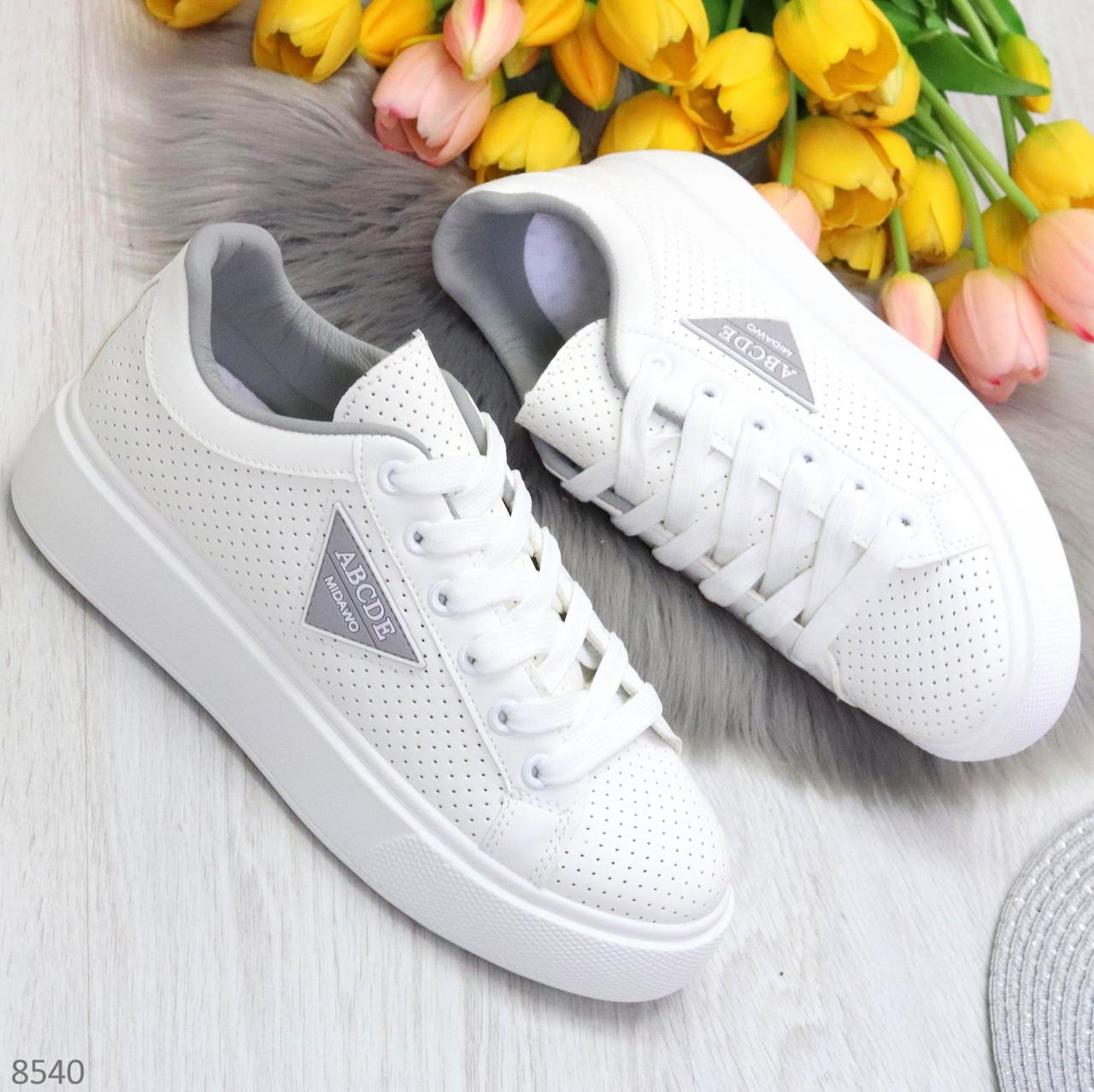 Модные белые серые дышащие женские кроссовки кеды крипперы с перфорацией