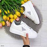 Модные белые серые дышащие женские кроссовки кеды крипперы с перфорацией, фото 7