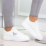 Модные белые серые дышащие женские кроссовки кеды крипперы с перфорацией, фото 9