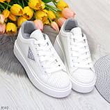 Модные белые серые дышащие женские кроссовки кеды крипперы с перфорацией, фото 10