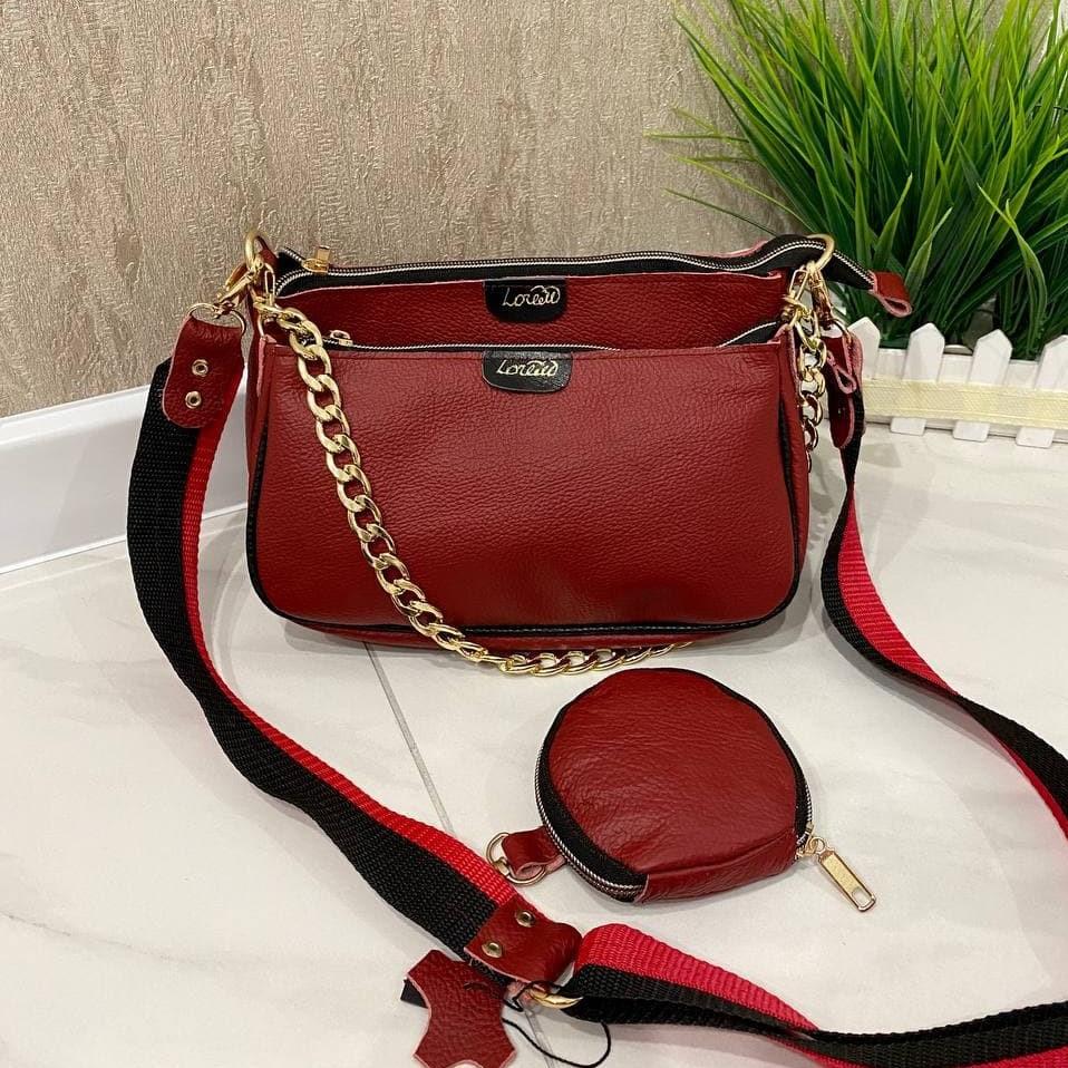 Женская кожаная сумка 3в1 Lorеn красная СКЛ88