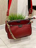 Женская кожаная сумка 3в1 Lorеn красная СКЛ88, фото 2