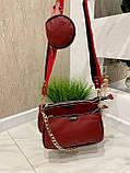 Женская кожаная сумка 3в1 Lorеn красная СКЛ88, фото 4