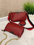 Женская кожаная сумка 3в1 Lorеn красная СКЛ88, фото 5