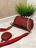 Женская кожаная сумка 3в1 Lorеn красная СКЛ88, фото 6