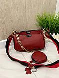 Женская кожаная сумка 3в1 Lorеn красная СКЛ88, фото 8