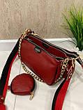 Женская кожаная сумка 3в1 Lorеn красная СКЛ88, фото 9