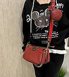 Женская кожаная сумка 3в1 Lorеn красная СКЛ88, фото 10