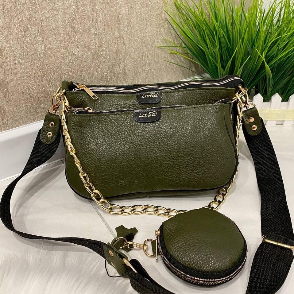 Женская кожаная сумка 3в1 Lorеn зеленая СКЛ89