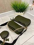 Женская кожаная сумка 3в1 Lorеn зеленая СКЛ89, фото 4