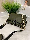 Женская кожаная сумка 3в1 Lorеn зеленая СКЛ89, фото 7