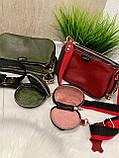 Женская кожаная сумка 3в1 Lorеn зеленая СКЛ89, фото 8