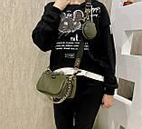 Женская кожаная сумка 3в1 Lorеn зеленая СКЛ89, фото 10