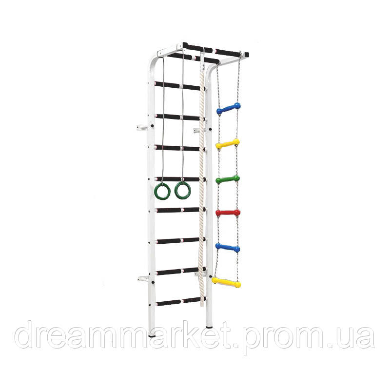 Спортивная Шведская стенка детская металлическая для дома, зала, квартиры с турником 215х60 см цветная 60247
