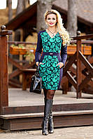 Женское трикотажное платье с длинными рукавами | Большие размеры, фото 1