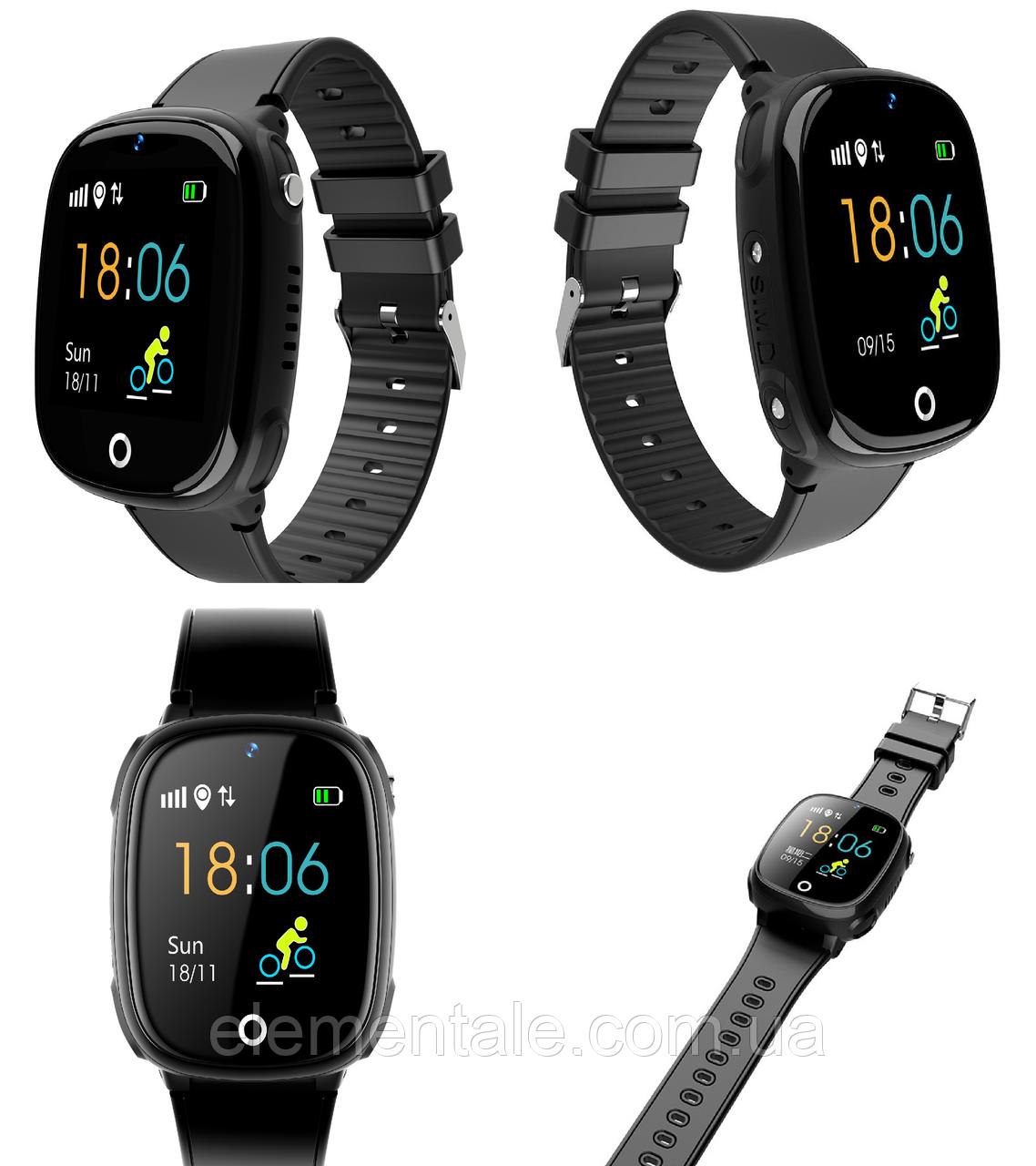Детские смарт-часы Lemfo HW11 Aqua Plus с камерой и GPS отслеживанием Черный