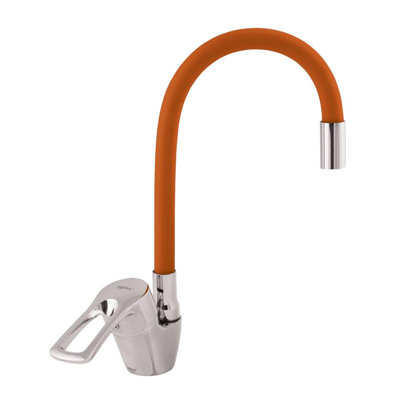 Смеситель для кухни ZERIX YUB 181 с оранжевым гибким изливом (ZX0434)