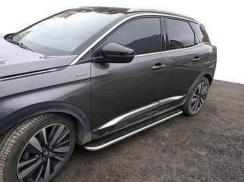 Peugeot 3008 2016↗ гг. Боковые пороги Maydos V2 (2 шт, алюминий -2021 нерж)