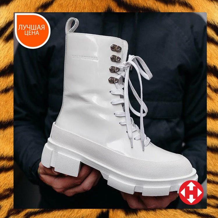 🔥 Ботинки ботильоны женские Both Gao High Boots White лакированные