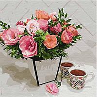 Картина малювання за номерами Ідейка Ароматне чаювання KHO3107 40х40 см Квіти, букети, натюрморти набір для