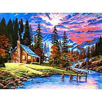 Картина рисование по номерам Babylon Охотничий домик VK266 30х40см набор для росписи, краски, кисти, холст