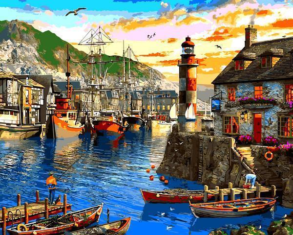 Картина рисование по номерам Babylon Восход солнца в порту Доминик VP1279 40х50см набор для росписи, краски,