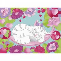Картина раскраска на холсте Кошеня 18х24см Идейка 7148/1 набор для росписи, краски, кисти, холст
