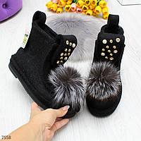 Дизайнерские черные ботинки угги валенки из войлока + опушка натуральный песец 35-22,5 см
