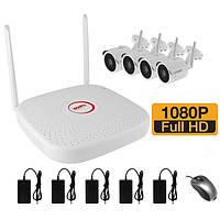 WiFi комплект беспроводного видеонаблюдения на 4 камеры 2 Мп на 400 метров LONGSE WIFI2004PGE1SE200