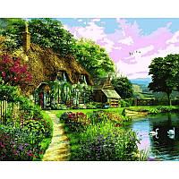 Картина рисование по номерам Mariposa Домик на закате Q2206 40х50см  набор для росписи, краски, холст, кисти