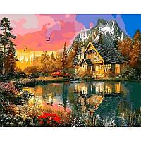 Картина рисование по номерам Mariposa Горная хижина Q2200 40х50см  набор для росписи, краски, холст, кисти