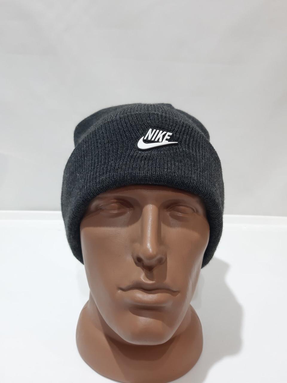 Мужская зимняя шапка отличного качества темно-серая теплая с отворотом
