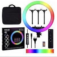 Набор для блогера Кольцевая LED Лампа 45 см 15 цветовых схем SOFT RING LIGHT RGB MJ36 Чехол. Пульт ДУ. Штатив