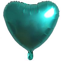 """Фольгированный шар """"Сердце"""" матовый зелёный"""