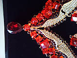 Набір біжутерії під золото з червоними камінцями, кольє і сережки, фото 2