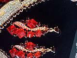 Набір біжутерії під золото з червоними камінцями, кольє і сережки, фото 3