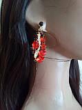 Набір біжутерії під золото з червоними камінцями, кольє і сережки, фото 4