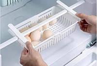 Раздвижной пластиковый контейнер для хранения продуктов в холодильнике Storage rack белый