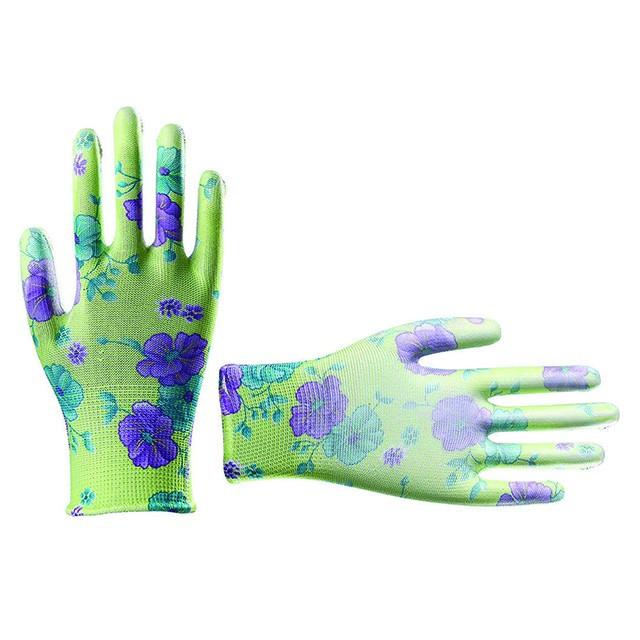 """Перчатки садовые с полиуретановым покрытием 8"""" зеленые INTERTOOL SP-0161"""