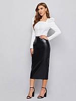 Женская деловая юбка ниже колен из экокожи, фото 1