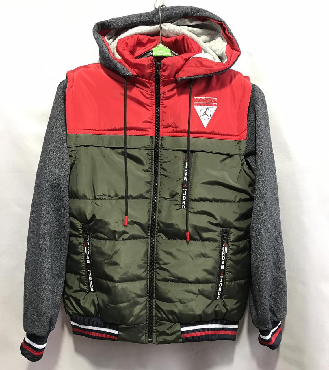 """Куртка демисезонная """"Jordan"""" 8-12 лет Хаки с красным Оптом"""