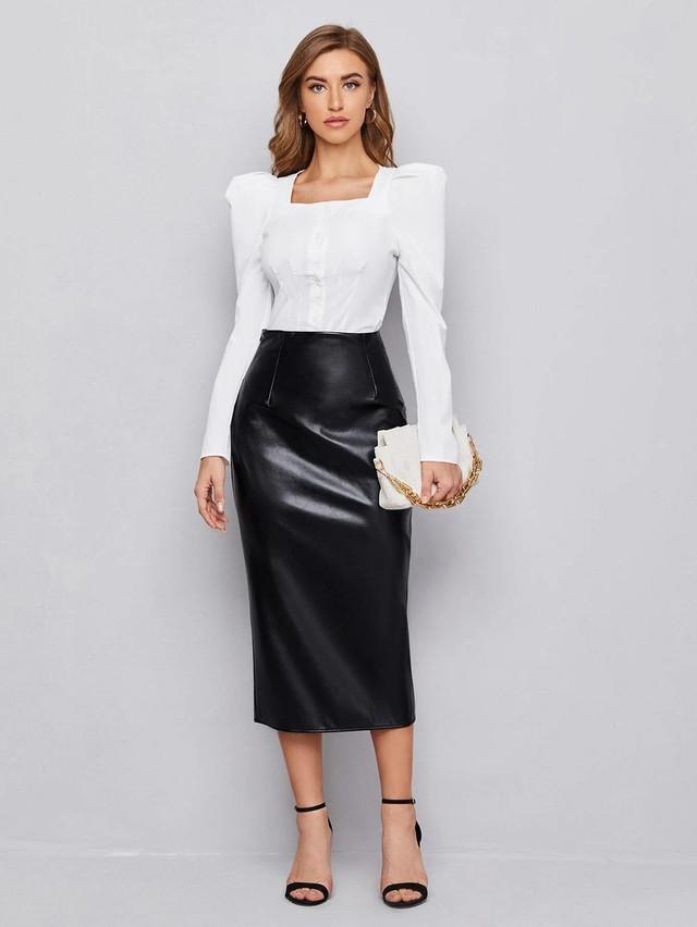 купить Женская деловая юбка ниже колен из экокожи в интернет магазине ARUT