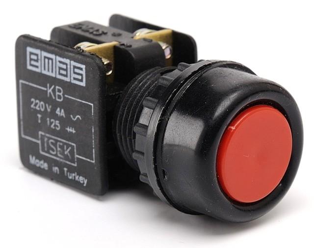Кнопка нажимная с водозащитным кольцом (1НО) красная