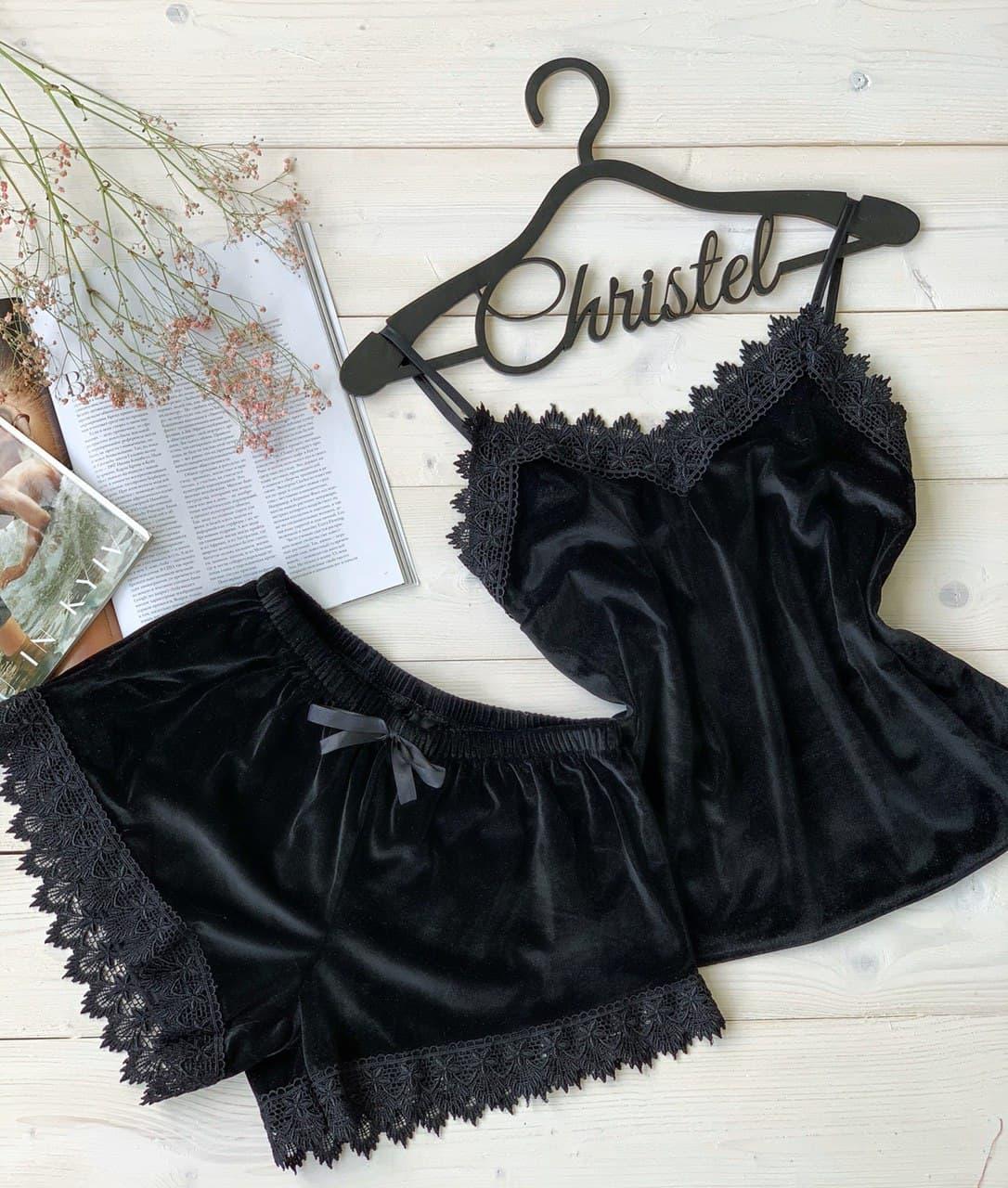 Женская бархатная пижама: майка и шорты с плотным кружевом