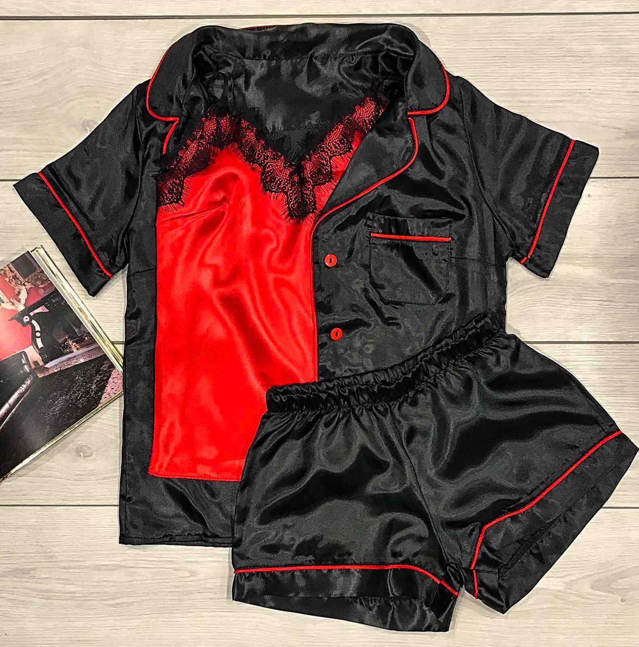 Чорна молодіжна піжама з кантом 030-1.