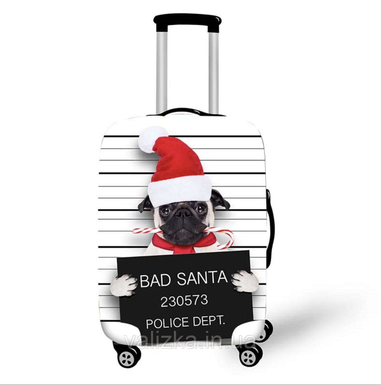 Чехол для маленького чемодана с принтом новогодний мопс