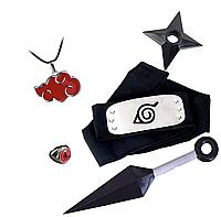 """Набор аксессуаров Наруто: Повязка """"Скрытый Лист"""", кольцо, цепочка Акацуки, звёздочка, большой кунай"""
