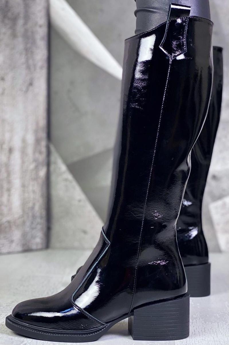 Диор! Сапоги кожаные  лаковые зимние женские, трубы, на невысоком устойчивом каблуке